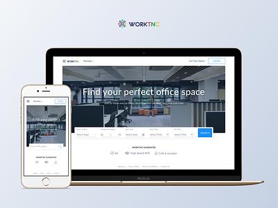 Worktnc - Index Page office search workspace web index feedback ux ui landing