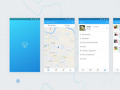 Pet Finder Application dog app design ux ui mobile app android map pet