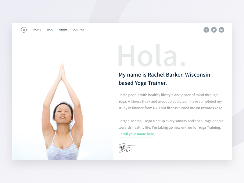 About Page - Bare UI Kit web portfolio profile health yoga female girl about ui kit