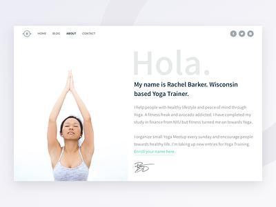 About Page - Bare UI Kit web portfolio profile health yoga female girl about ui kit
