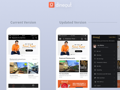 Dineout UX Improvement ratings navigation food restaurant ios update redesign app