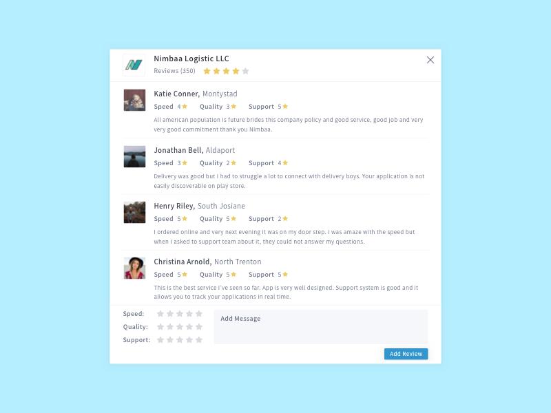 Review modal