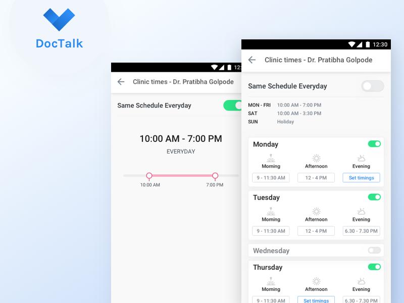 DocTalk Receptionist app doctor app clinic slot design timeline schedule ux app ui android health care health app