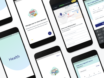 Onboarding screens for Health-tech startup splash map health app healthcare app ux android onboarding screen onboarding