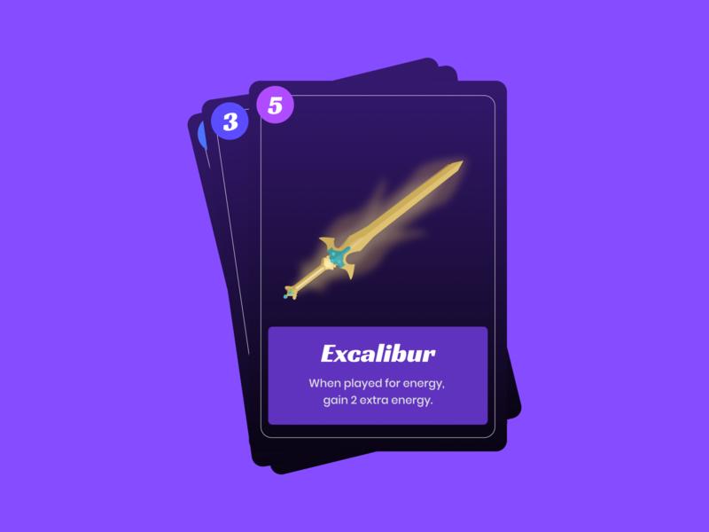 Excalibur Card sword card design game design game art dark theme vector illustration figmadesign figma