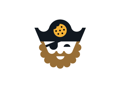 A pirate that likes his cookies pirate cookie logo design beard patch tricorn