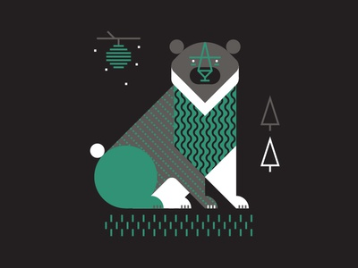 Bear bear illustration grass beehive tree luke bott