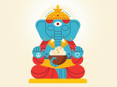 Lord Ganesha elephant buddha hindu popcorn peace love heart ganesha