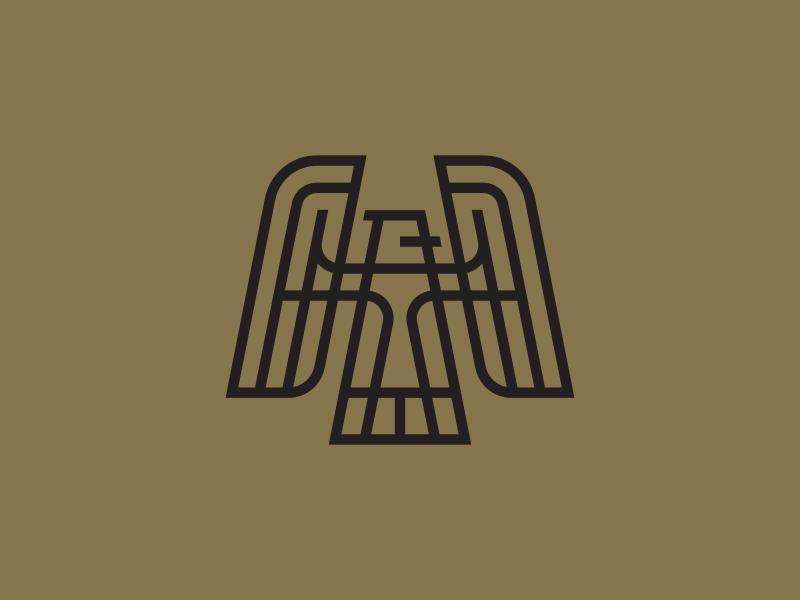Eagle bott luke feather wing design line logo eagle