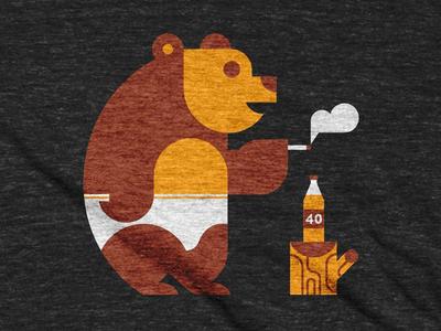 Bear In Underwear bott luke stump tree honey beer 40oz cigarette underwear bear
