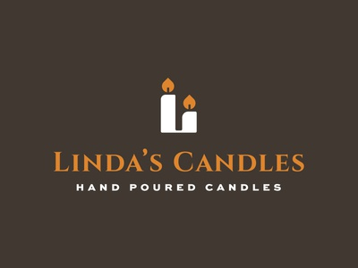 Linda's Candles bott luke pourded hand design logo l flame wick candle