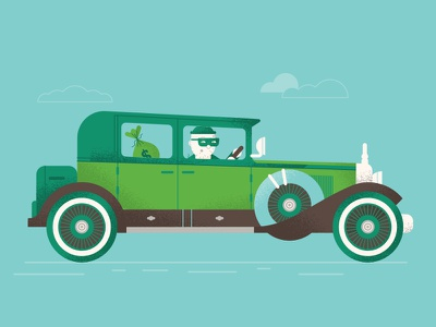 Bank Robber texture vector clouds illustration robber bank money car