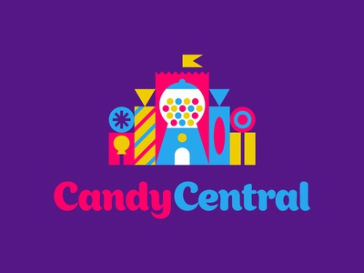 Candy Central logo lollipop sucker flag castle machine gumball central candy