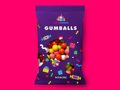 Gumballs design logo branding packaging gumball central candy