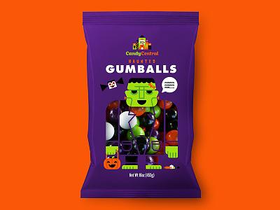 Haunted Gumballs logo branding frankenstein illustration gumballs candy design package