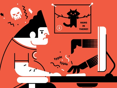 How To Handle Clients...By A Client hightail lightning typie keyboard computer client kitty! cat skull guy illustration