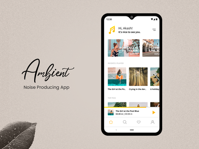 Ambient Noise - App UI/UX photoshop xd music player ux ui app