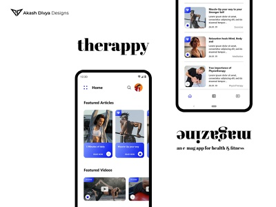 Therappy - UI/UX of Android App for Health Magazine minimal photoshop magazine xd ux ui app