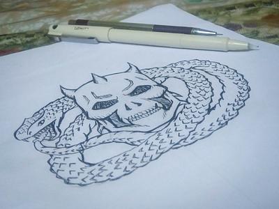 Skull & The Serpent Logo Sketch snake serpent skull sketch logo design