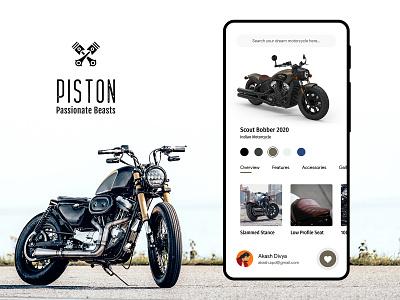 Piston - The Motorcycle App   Minimalistic UI/UX design ui android ios app photoshop xd design uxdesign ui design