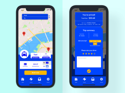 Ride sharing & taxi app design concept