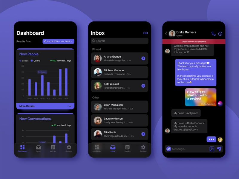 Customer Support App💬 (Dark Mode) dark app dark mode app application figma app designer app design ui design customer support customer service chat ui ux designer