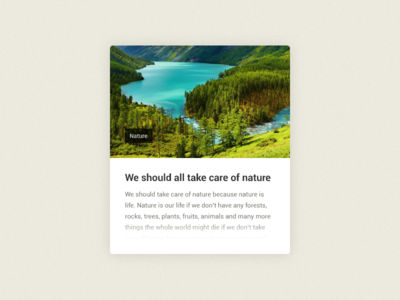 We should all take care of nature