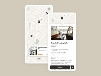 Cafes and Restaurants App Concept book map concept restaurant cafe mobile app