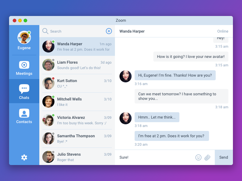 Download Daily UI #013 — Direct Messaging. Zoom Redesign