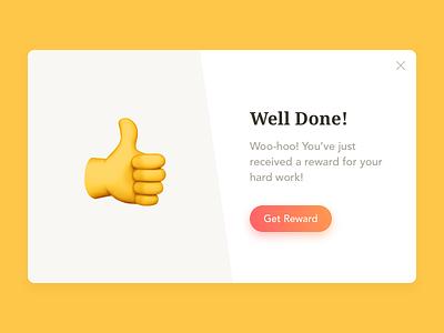 Daily UI #016 — Pop-Up / Overlay emoji reward congratulations overlay pop-up window moda sketch dailyui
