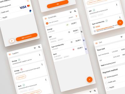 Recurrent Bills List -  App Design usability utilities payment bills list desing cart tabs list cards mobile ux bills e-commerce desinger app