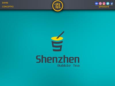 Shenzhen Bubble Tea 2 typography lettering illustrator identity graphics design clean icon logodesignchallenge logodesign logodesainer logodaily minimal logo vector illustration flat design branding 30dayslogochallenge 30daychallenge