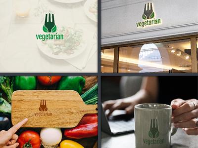 Vegetarian Logo Concept. logo 2d graphic artist graphic design designer logo designer for hire logo designer clean typography illustrator identity flat graphics design minimal vector icon logodesign logo illustration design branding