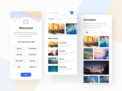 Wallpaper Hub mobile app simple android material ios app design mobile app