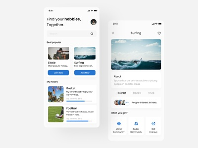 Hobby - Mobile Apps figma mobile app mobile app simple ui android ios