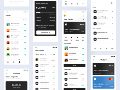 Digital bank - Mobile app bank payment black white clean app mobile app simple mobile ui android ios
