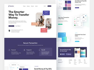Transfer money & Bills - Web design clean app mobile finance landing page website webdesign ui