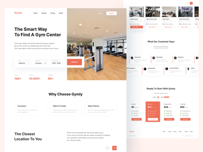 Gymly - Homepage UI mobile app webdesign workout fitness gym clean homepage website android ios