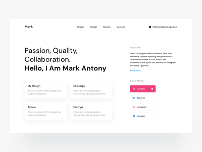 Simple Personal Website space white clean web app webdesign personal website