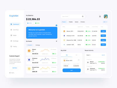 Crypto Exchange - Dashboard exchange clean crypto cryptocurrency android ios dashboard website