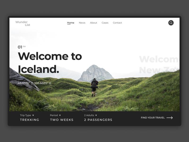 Find Your Adventure – Web Concept travel adventure concept typography minimal debut website web ux ui hello dribbble design
