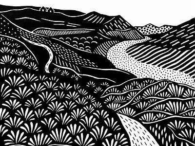 Land of herbs stripes monochrome dotwork artwork illustration graphic ornament ink black  white pattern black and white