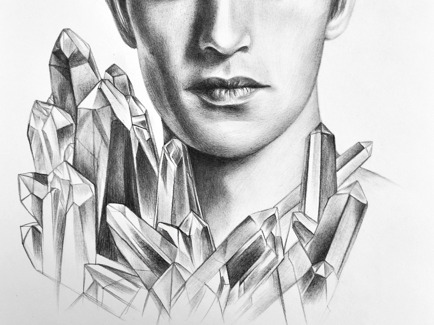 Crystal boys series beautiful artwork illustration handdrawn crystal graphic portrait fashion illustration pencil drawing pencil art