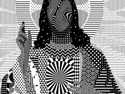 +<<Pray For Future. Digital Jesus>>+ religion digital optical art christ jesus black and white ornament vector pattern linework artwork black  white graphic illustration
