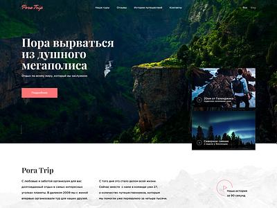 Стартовая страница сайта по туризму branding мороженое интерфейс вебдизайн instagram графический дизайн design