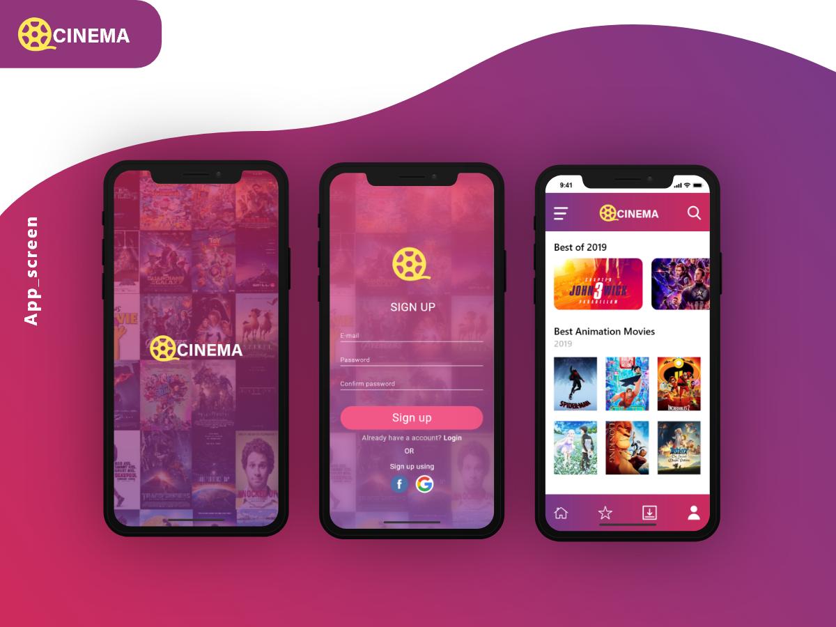 Cinema app design movie app app ui xddailychallenge cinema design ux ui app adobexd