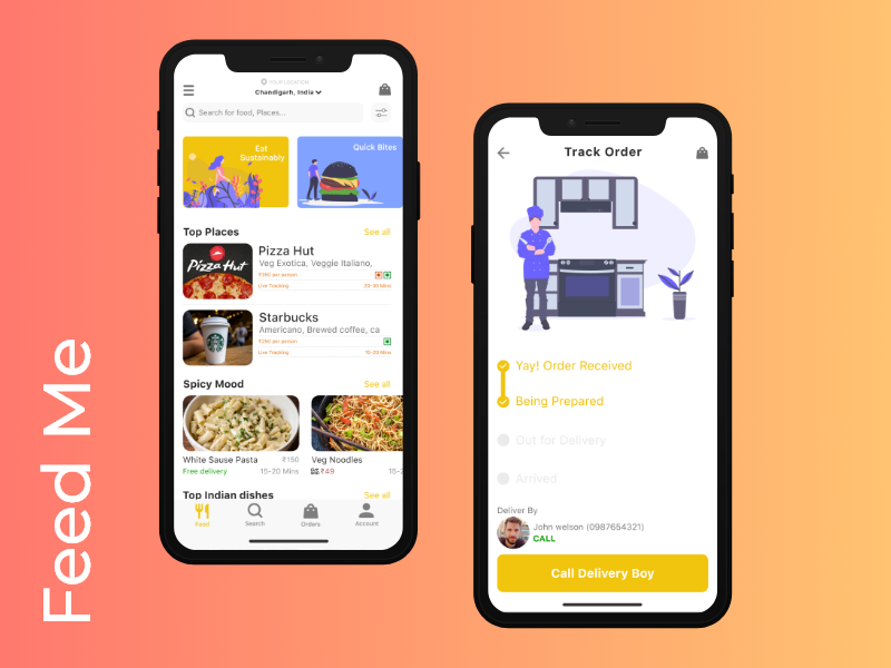 Feed Me ( Food Delivery App) by Sachin Mittal on Dribbble
