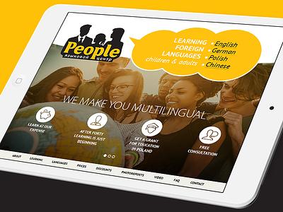 Website People Language School site responcive mobile adaptive landingpage website interface flatdesign design uidesign ux ui