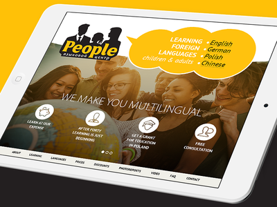 Website People Language School site responcive mobile adaptive landingpage website interface flatdesign design uidesign ux ui