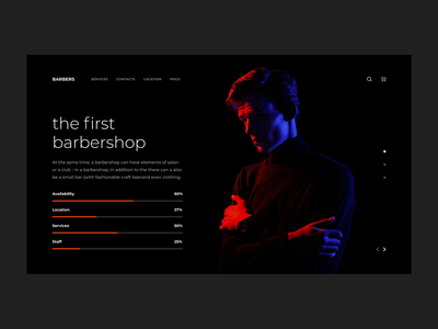 WEB SITE FOR BARBERSHOP | 1 DAY = 1 SITE (CHALLENGE) minimalism figma sketch photoshop aftereffects trends illustration dark ui motion mp4 gif animation corporate landing website webdesign ux ui flat